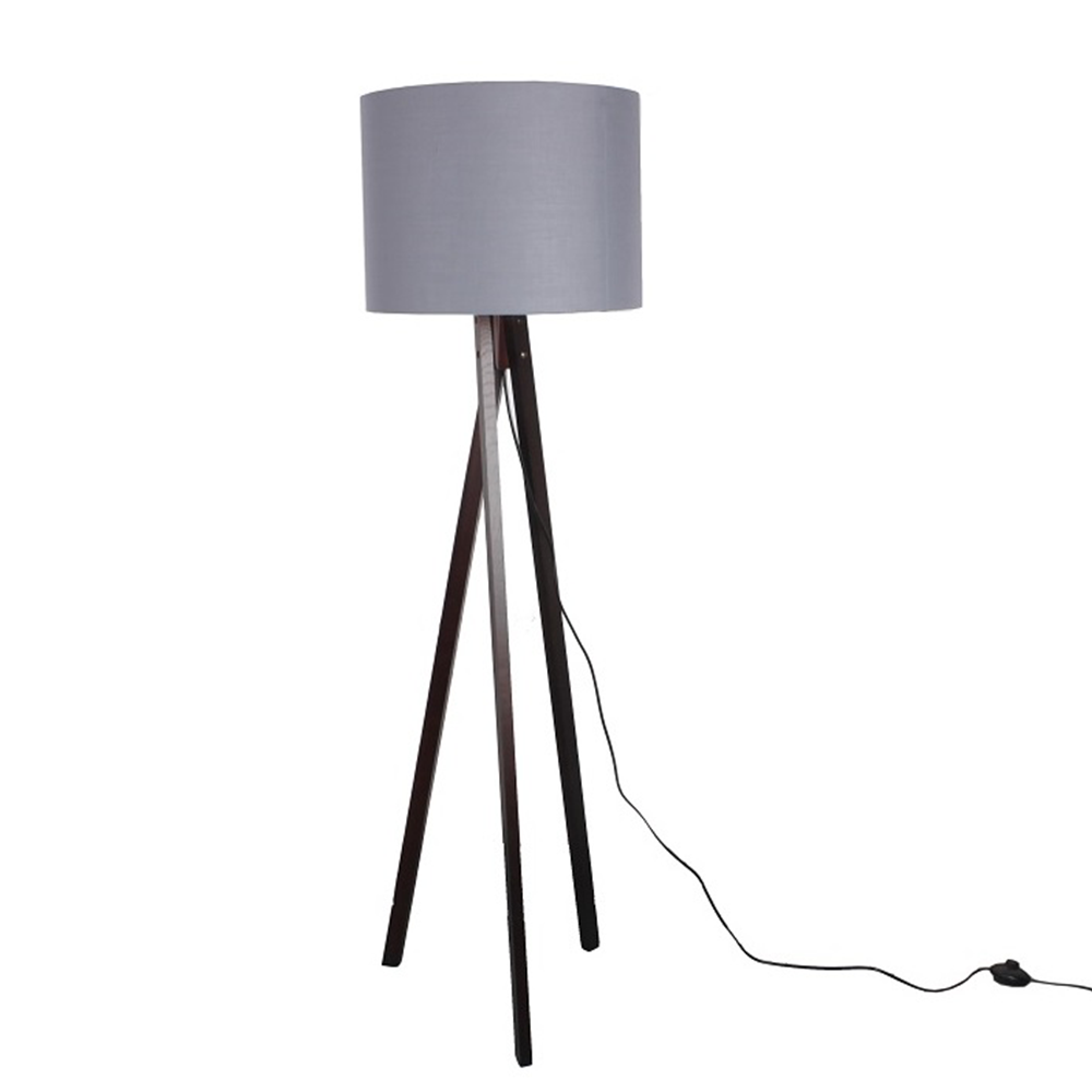 Stojacia lampa, sivá/drevo čierne, LILA TYP 10 LS6062