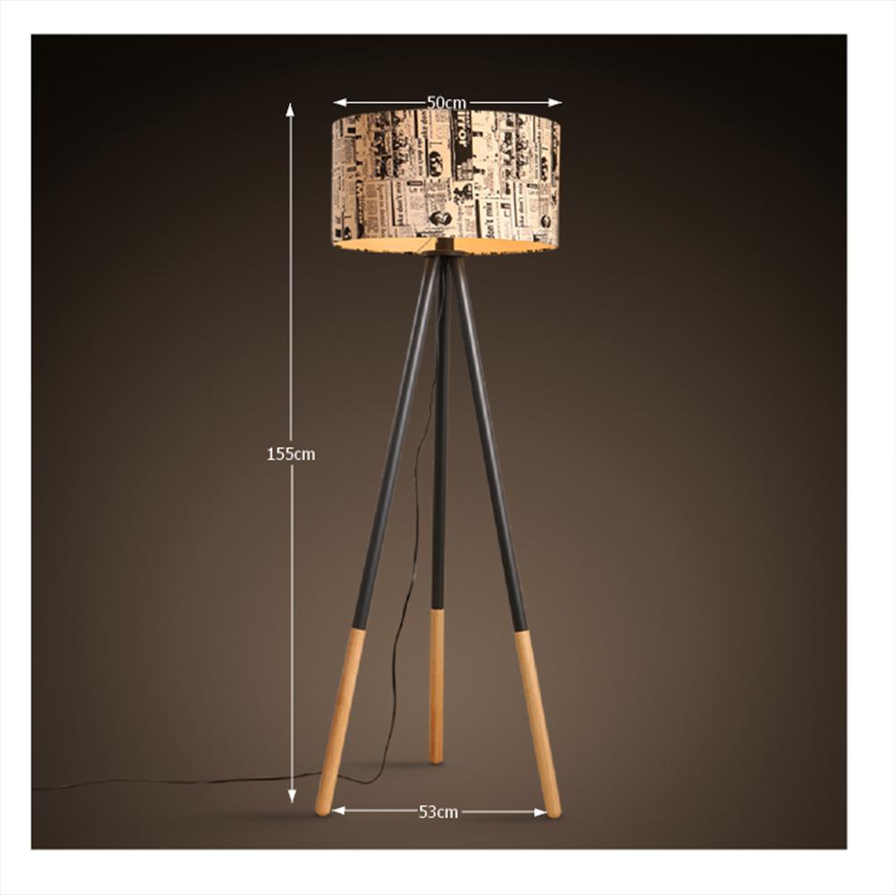 CINDA TYP 6 modern állólámpa, újság mintás textil / fekete