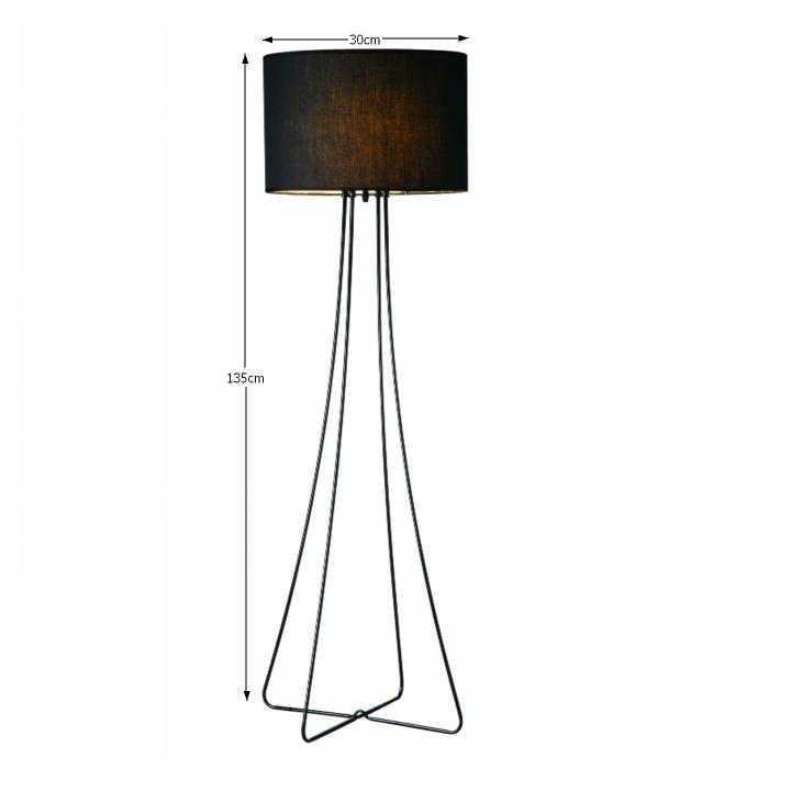 Állólámpa, fekete fém/anyag, CINDA TIP 12 F4813