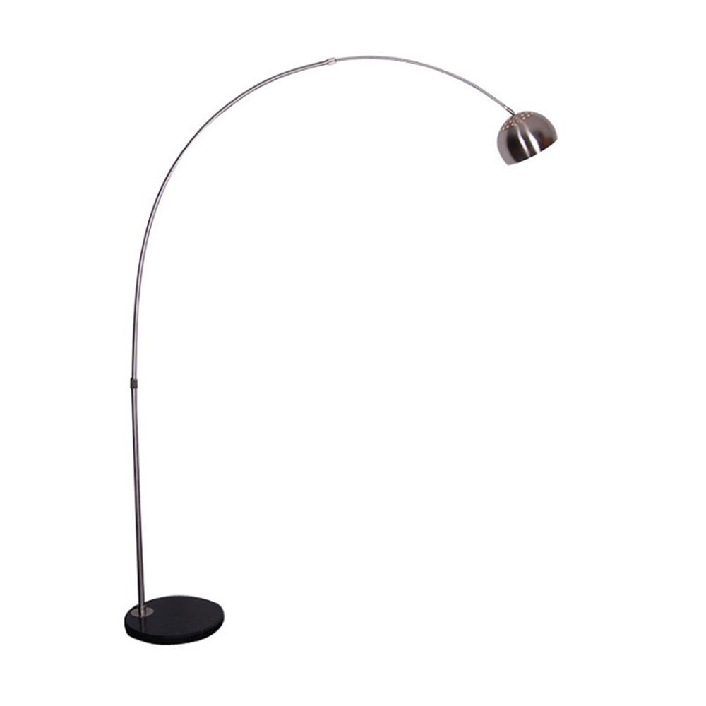 Stojacia lampa, nehrdzavejúca oceľ/čierny mramor, CINDA Typ 15 F1034-S