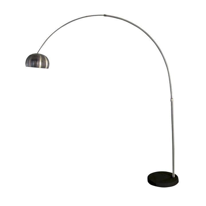 Stojacia lampa, nehrdzavejúca oceľ/čierny mramor, CINDA Typ 17 F1034-L