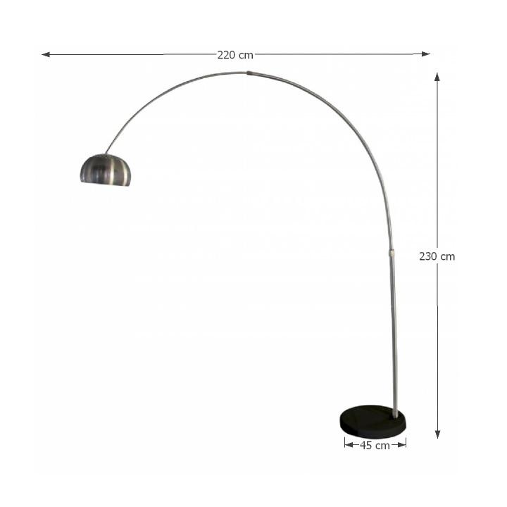 Állólámpa, rozsdamentes acél/fekete márvány,  CINDA TIP 17 F1034-L