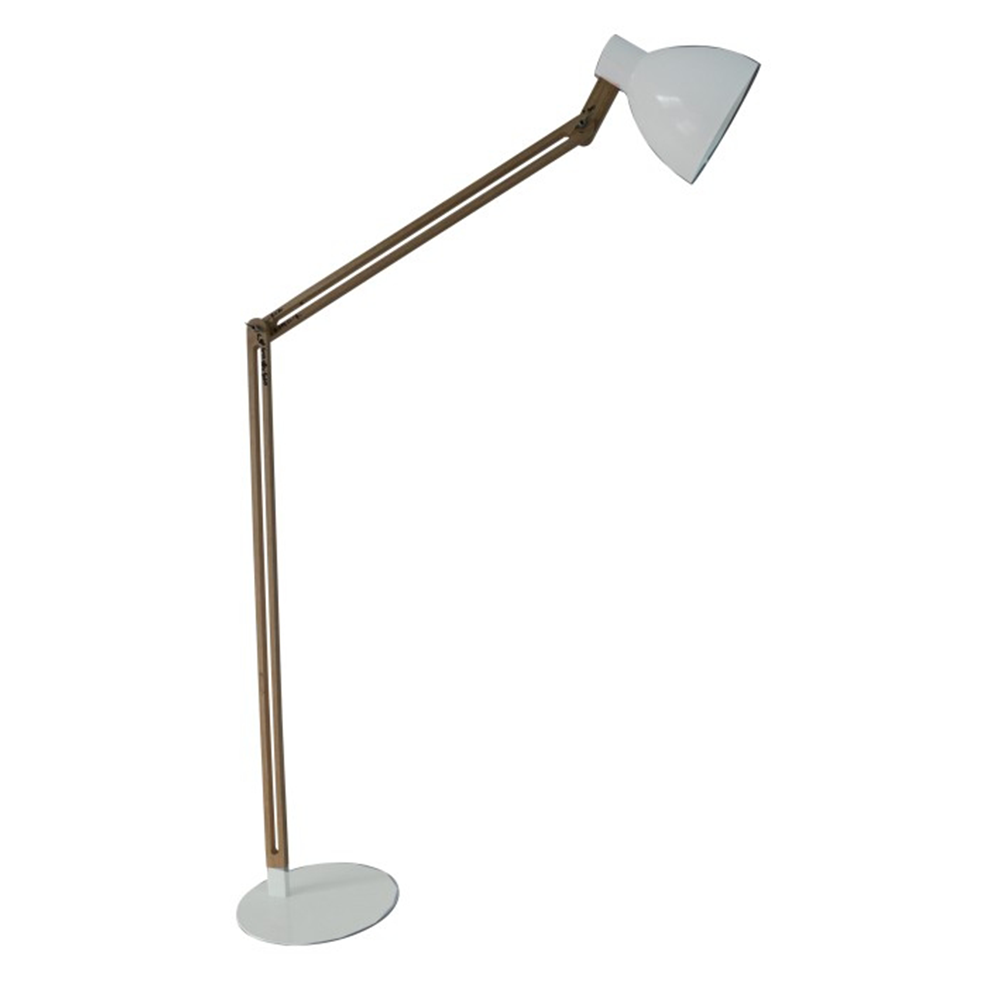 Lampă pe picior, aluminiu alb/lemn, CINDA  TYP 19 YF6044