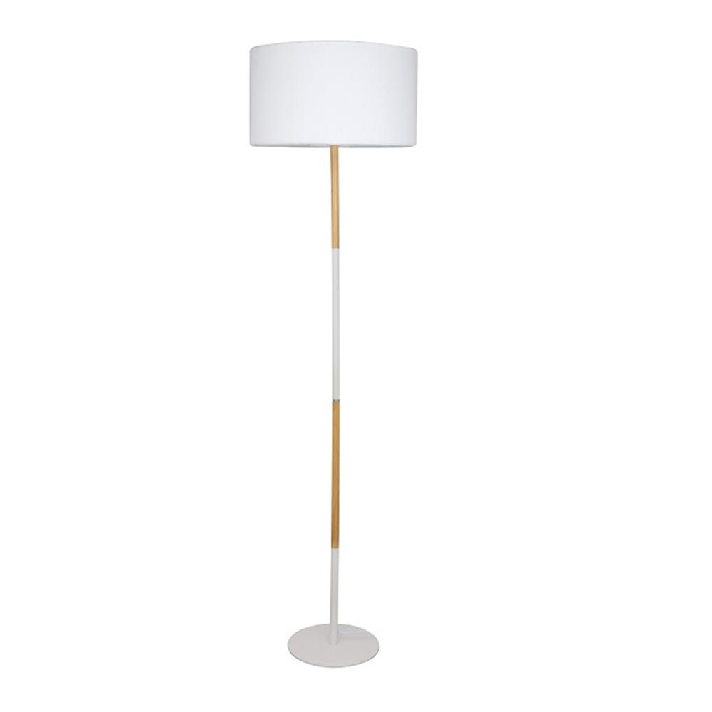 Lampă pe picior, aluminiu alb/model lemn, CINDA TYP 20 YF6046