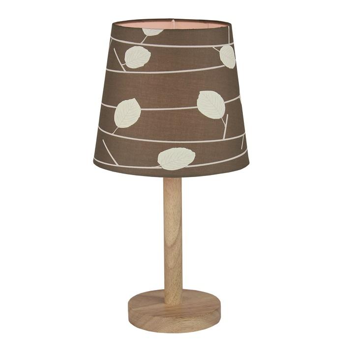 Stolní lampa, dřevo / látka vzor listy, QENNY TYP 6, TEMPO KONDELA