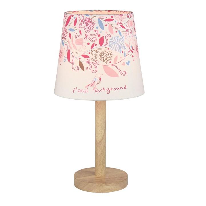 Stolní lampa, dřevo / látka vzor květy, QENNY TYP 8