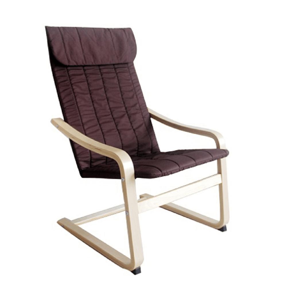 Relaxačné kreslo, brezové drevo/hnedá látka, TORSTEN