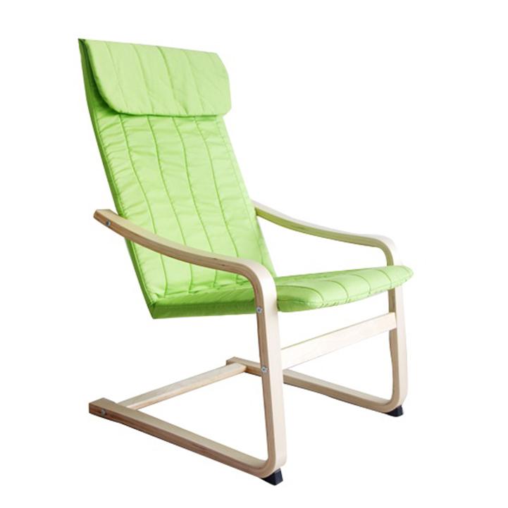 Relaxačné kreslo, brezové drevo/zelená látka, TORSTEN