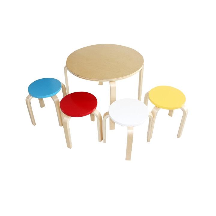 Detský set 1+4, brezové drevo, mix farieb, SIGRID