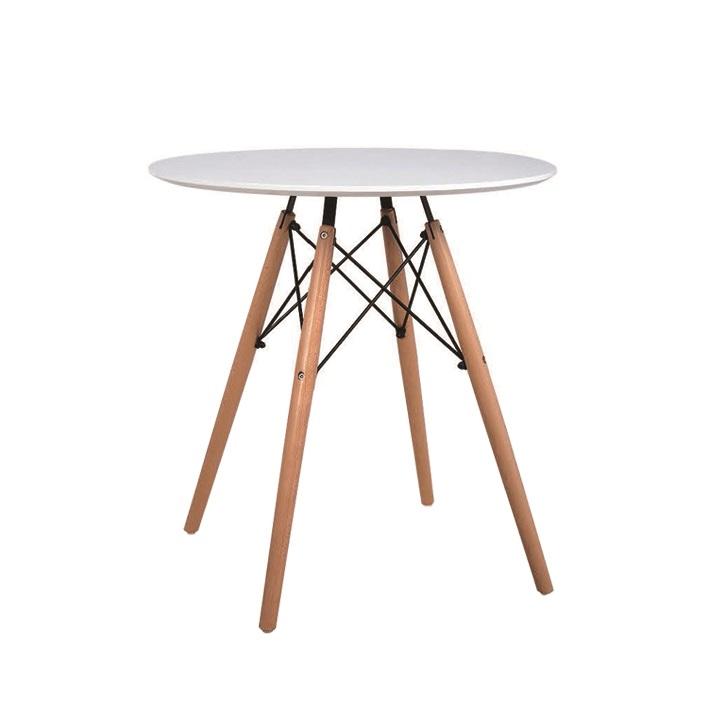 Jedálenský stôl,  biela/buk, GAMIN 60