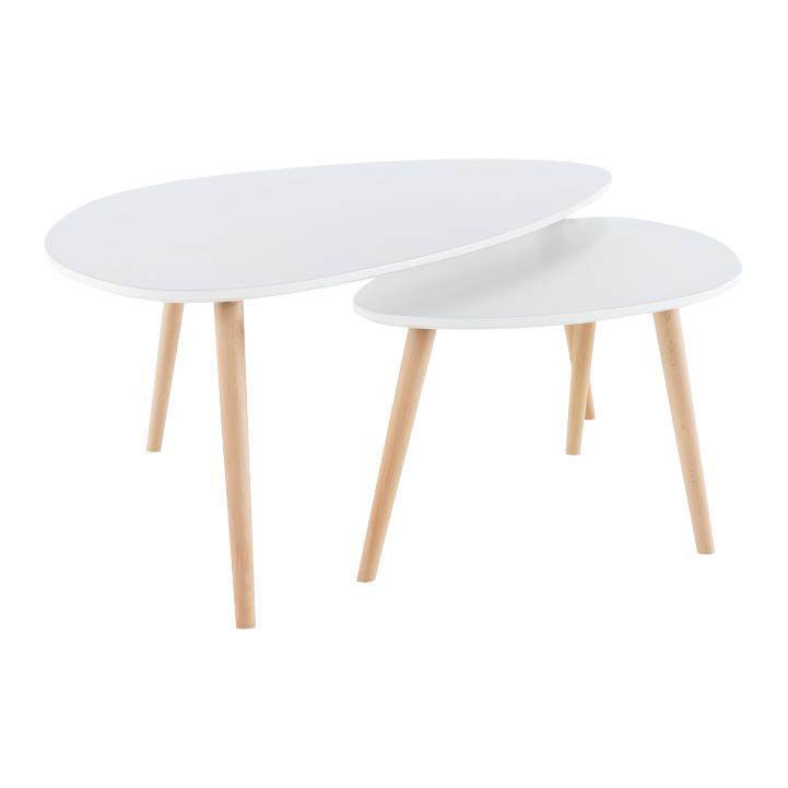Set 2 konferenčních stolků, bílá / buk, FOLKO