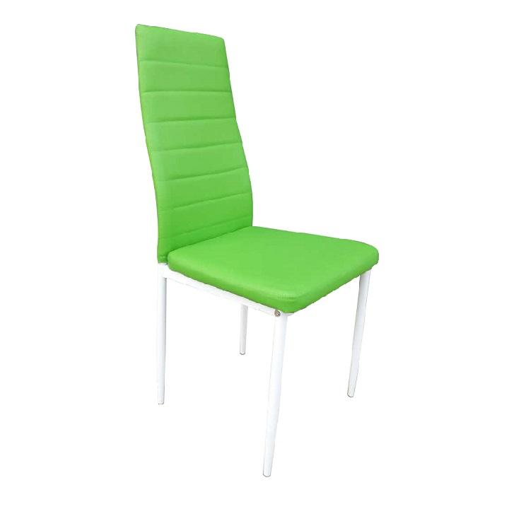 Étkezőszék, zöld textilbőr + fém - fehér, COLETA NOVA