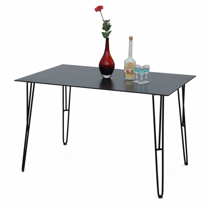 Jedálenský stôl, tvrdené sklo/čierny kov, OBERON