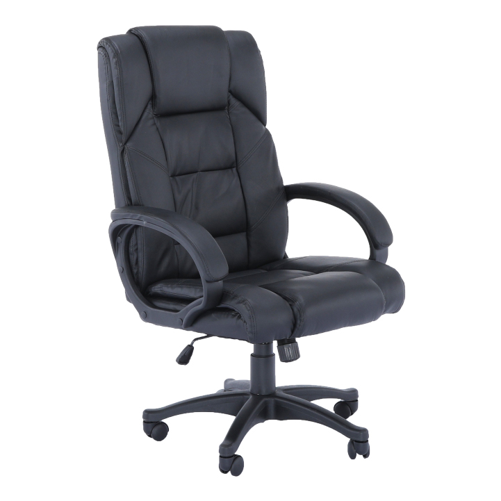 Kancelárske kreslo, čierna ekokoža, SIEMO NEW