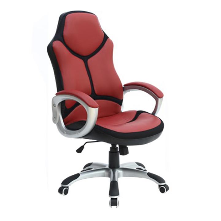 Kancelárske kreslo, ekokoža červená/čierna, ARETAS NEW