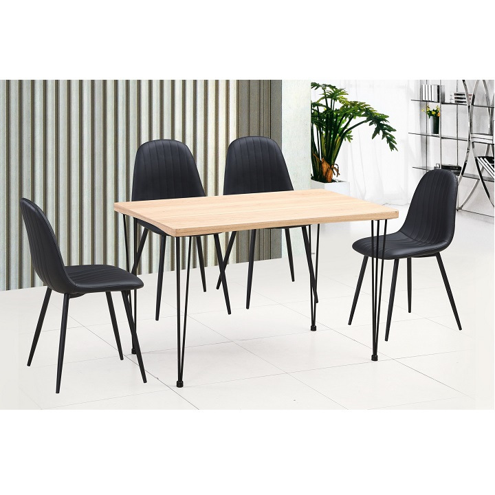 Jedálenský stôl, svetlý buk/čierna, GORDAN