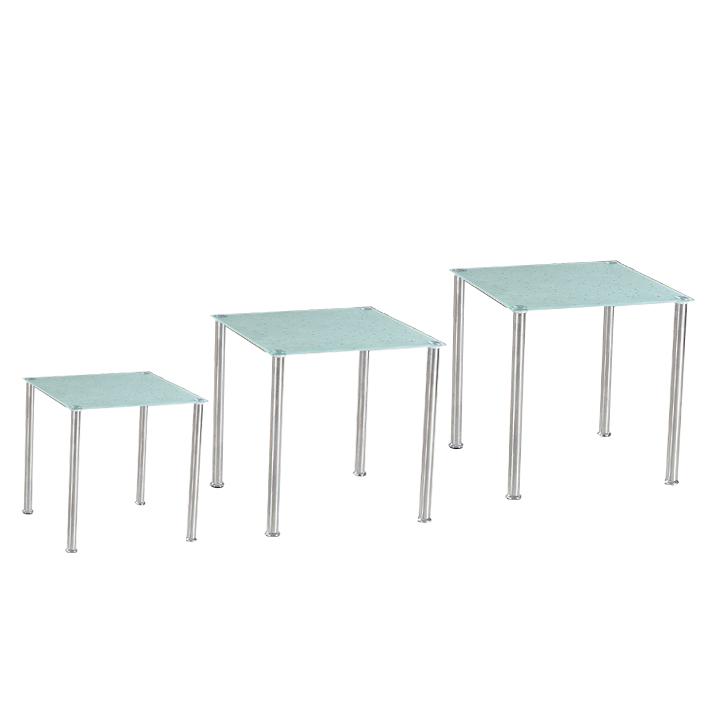 Sada 3 príručných stolíkov, tvrdené sklo/oceľ, NESTOR