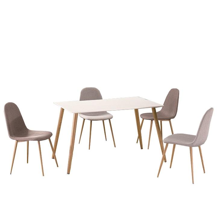 Jedálenský stôl, biely matný/vzor drevo, KUMAR