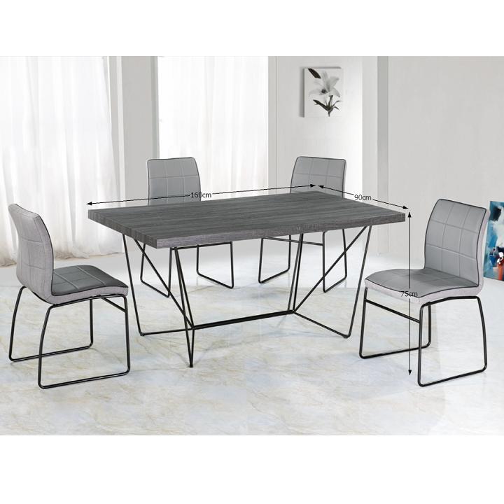 Jedálenský stôl, sivá/čierna, PALMER