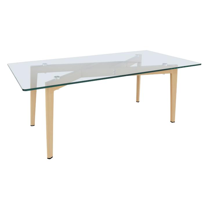 Jedálenský stôl, sklo/kov s úpravou buk, PEDREK Typ 3