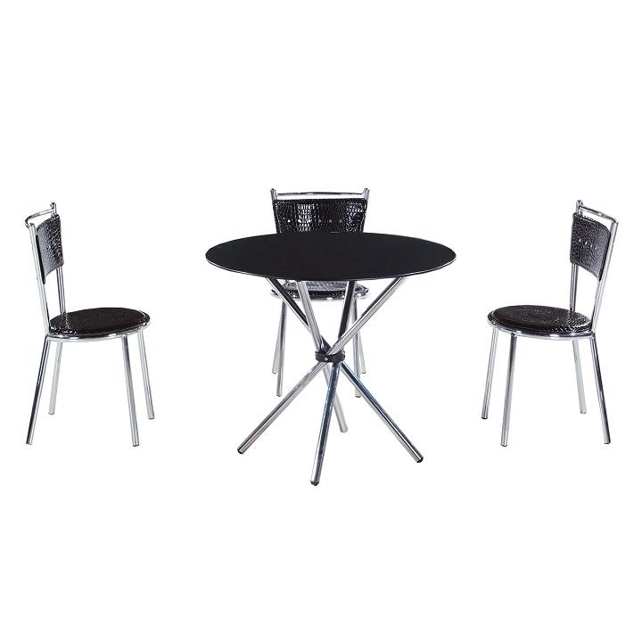 Jedálenský stôl, tvrdené sklo/oceľ, čierna, LAMAR