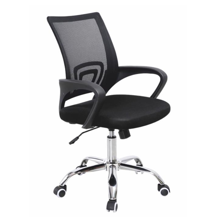 Kancelárska stolička, sieťovina čierna/látka čierna, DEX NEW