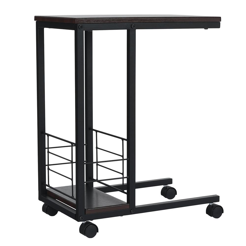 Príručný stolík na kolieskach, orech/čierna, CARMEL