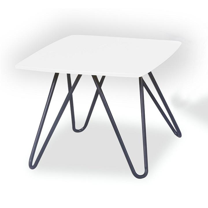 Konferenčný stolík, biela vysoký lesk/čierna, KANER 1