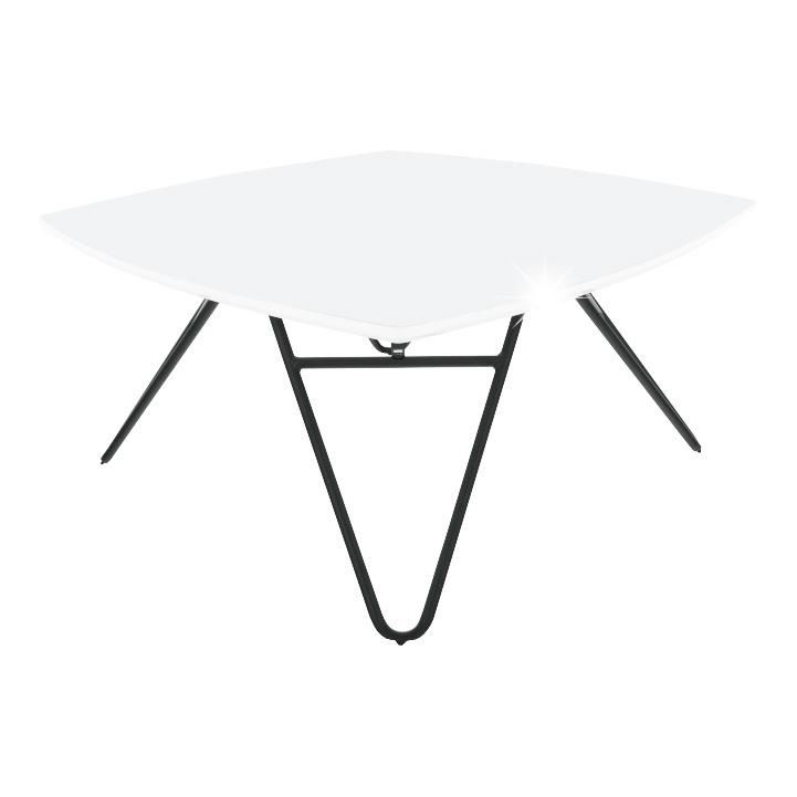 Konferenčný stolík, biela vysoký lesk/čierna, KANER 2