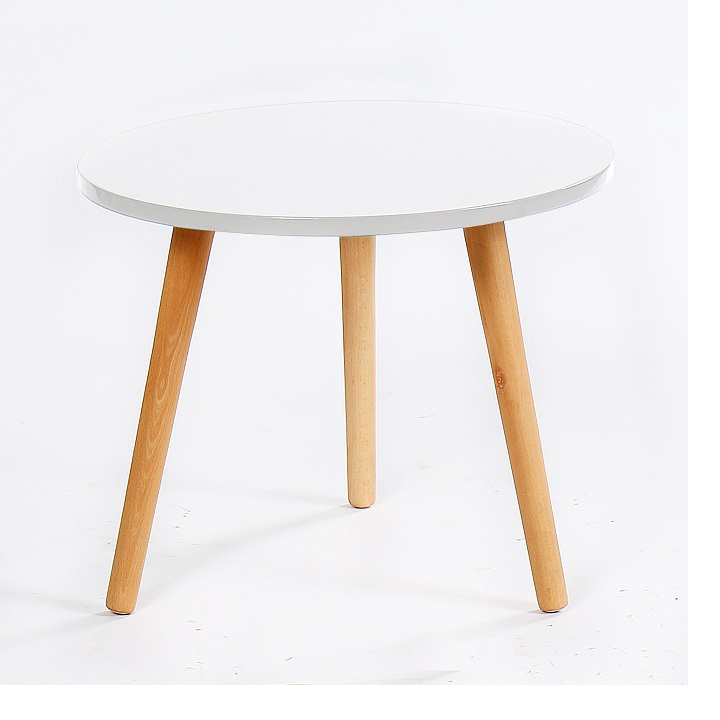 BAZZY 3 asztalka, szín: fehér / természetes fa
