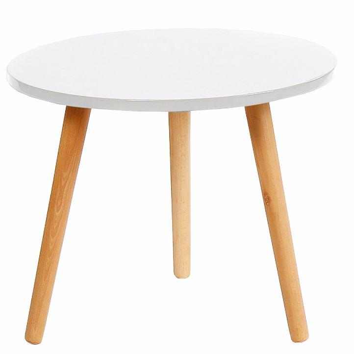 Príručný stolík, biela/natural, BAZZY 2