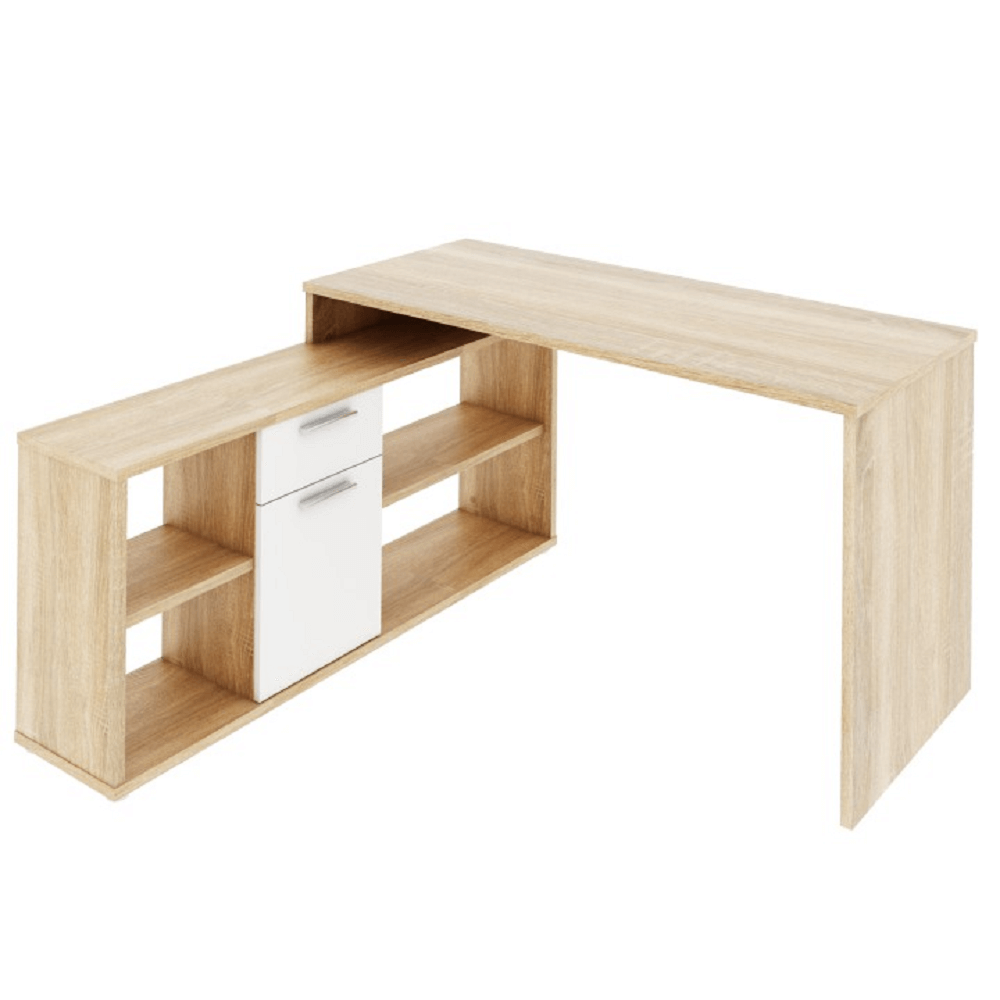 PC stôl, dub sonoma/biela, NOE NEW