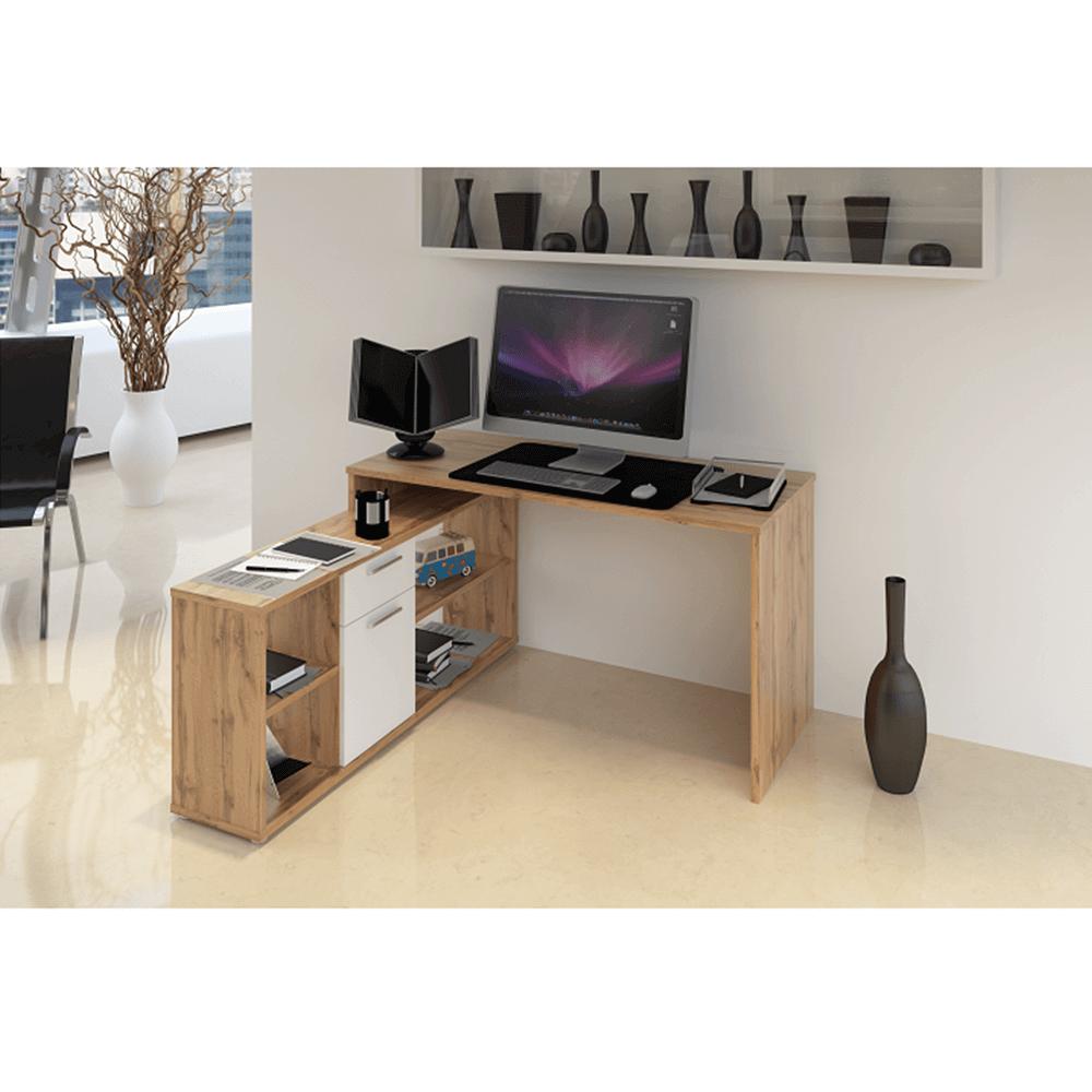 Sarok számítógépasztal , wotan tölgyfa/fehér, NOE NEW