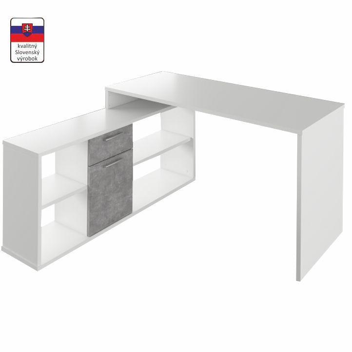 PC stôl, biela/betón, NOE NEW