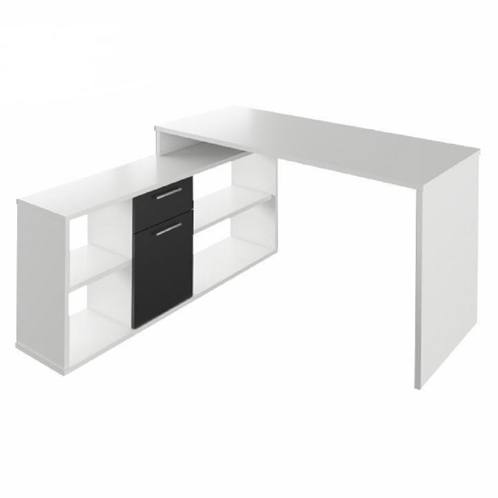 Sarok íróasztal, fehér/fekete, NOE NEW