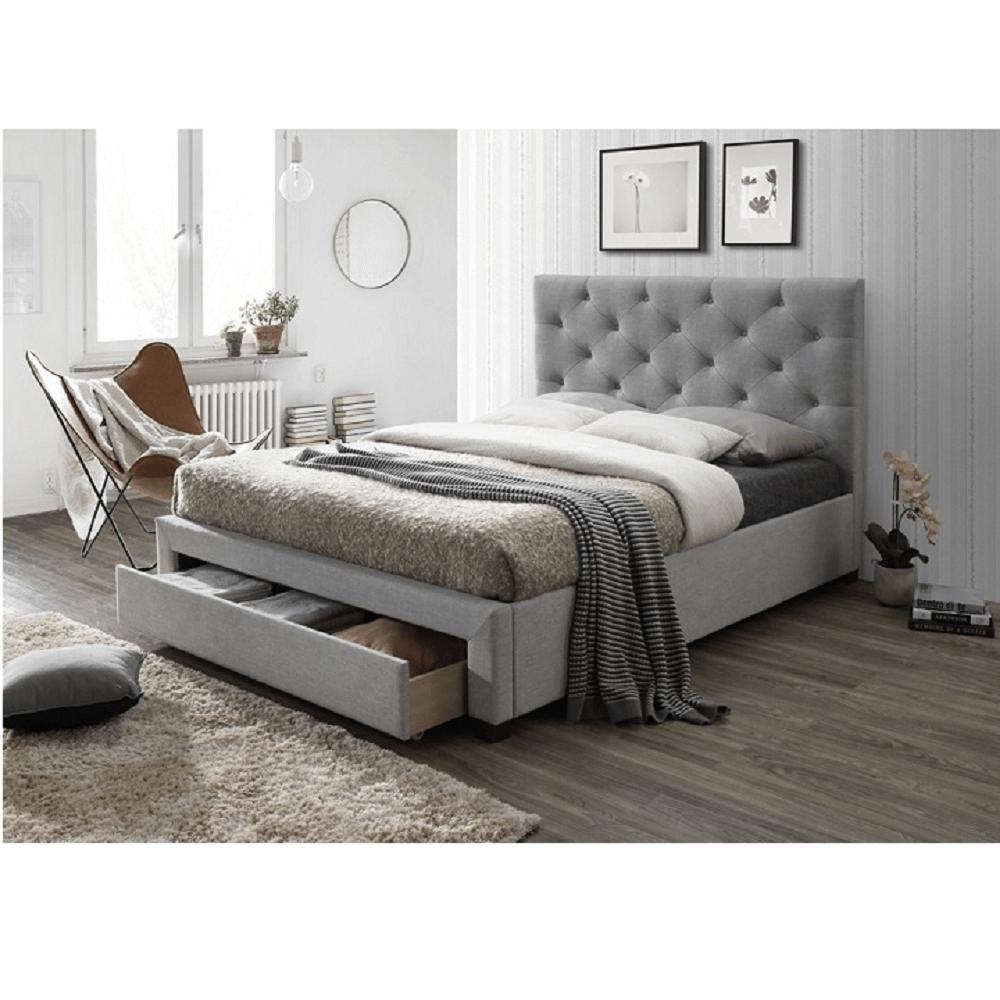 Modern ágy ágyneműtartóval, szürke szövet, 160X200, SANTOLA