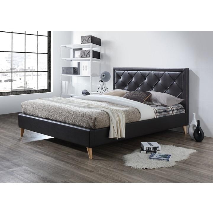 Franciaágy,sötétbarna textilbőr, 160x200, PUFFIE