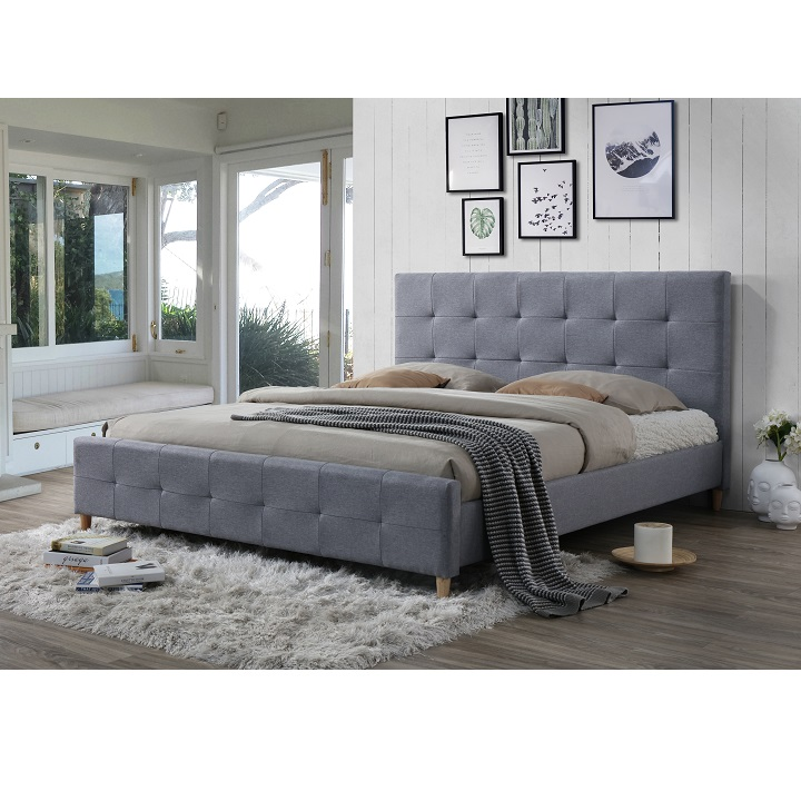 Manželská posteľ, sivá, 180x200, BALDER