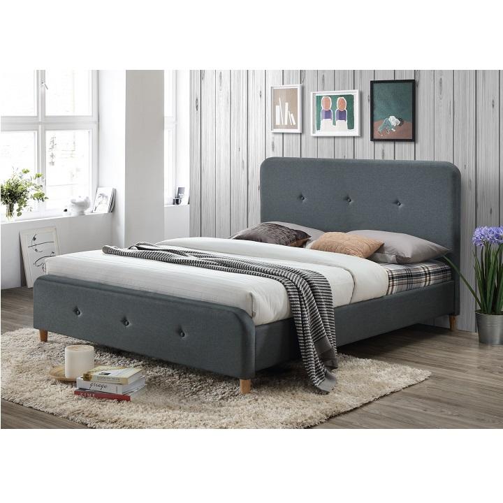 Manželská posteľ, tmavosivá, 180x200, COLON