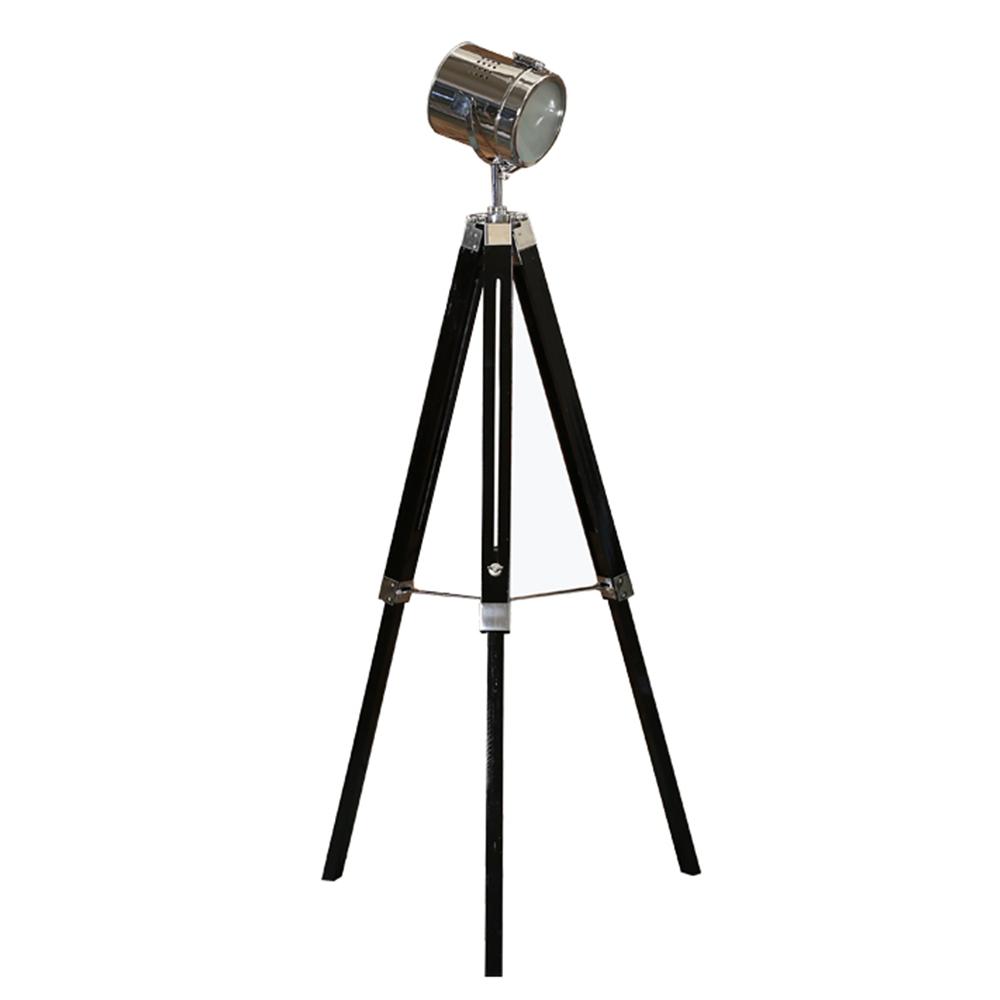 Stojací lampa, černé dřevo / kov, CINDA TYP 26, TEMPO KONDELA