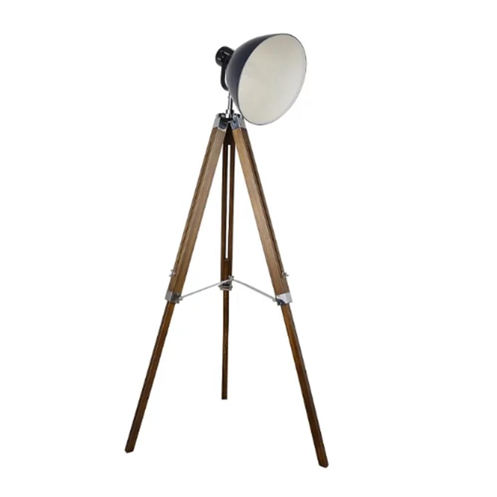 Állólámpa, sötétszürke fém/fa, CINDA TIP 27 YFY804-a