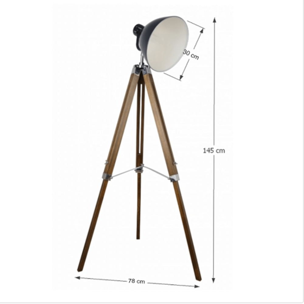 CINDA TYP 27 modern állólámpa, természetes fa / fekete