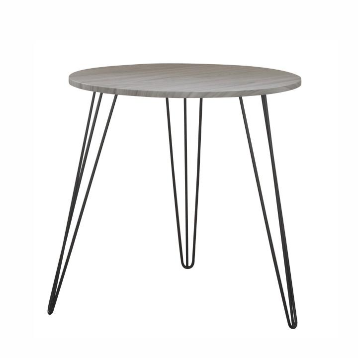 Elegáns kézzel készített asztal,Anyag és kivitel: MDF + fém tölgyfa színben + fekete lábbakal KALEB