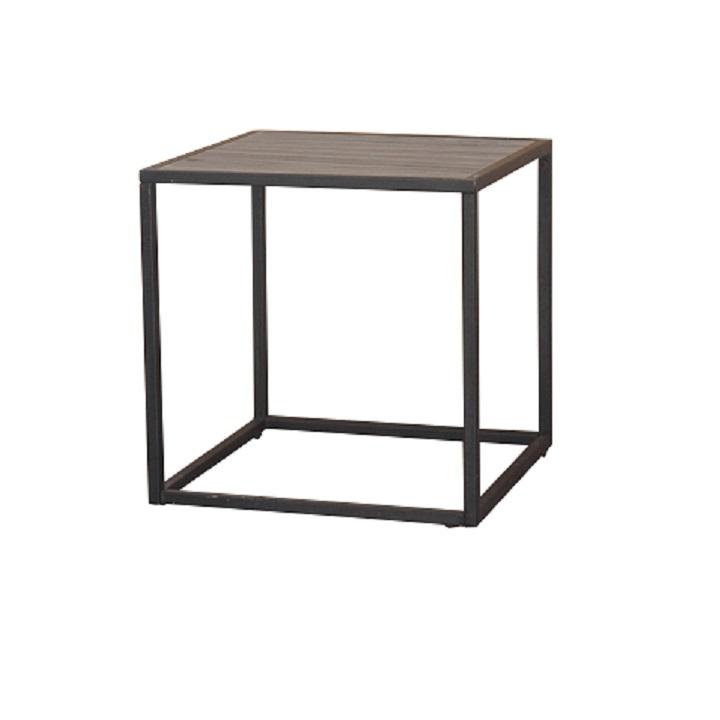 JAKIM TYP 1 Elegáns kézzel készített asztal, amely alkalmas étkezésre,a TV előtti nappaliban.Anyag és kivitel: MDF + fém a tölgyfa színébenfekete lábakkal kombinálva.