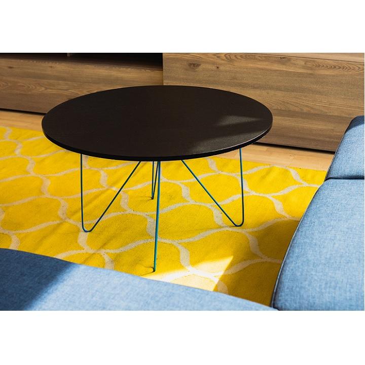 MIKKEL modern, stílusos konferenciaasztal. Fekete tölgyfa színhatás / kék