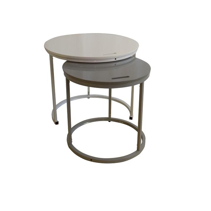 Príručný stolík, biela/sivá, NERIMAN 2v1