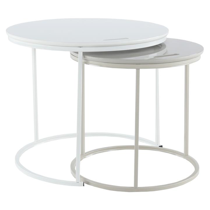 Set príručných stolíkov, biela/sivá, NERIMAN 2v1