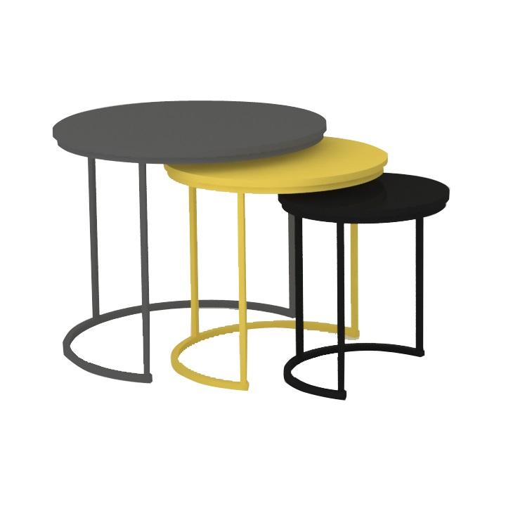 Set troch príručných stolíkov, sivá/žltá/čierna, RONEL