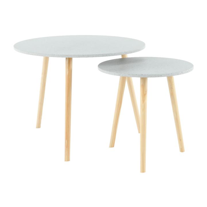 Set příručních stolíkov, mramorový efekt / dřevo natural LIRAN 2V1