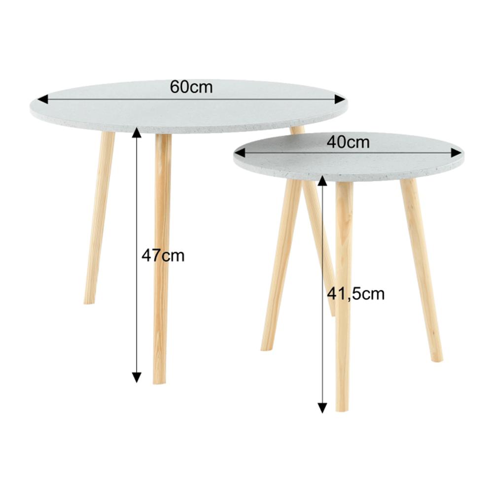 LIRAN 2V1 szett, két darab kisasztal, szín: márvány hatás / természetes fa